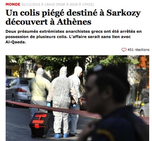 Liberation: Ένα παγιδευμένο δέμα με παραλήπτη τον Σαρκοζί ανακαλύφθηκε στην Αθήνα