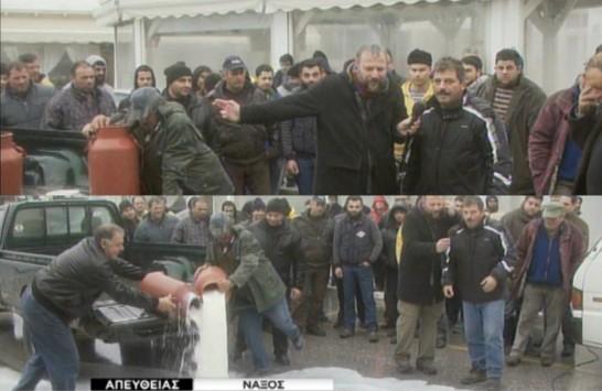 Ο δημοσιογράφος του ΣΚΑΪ δίνει σύνθημα στους κτηνοτρόφους να χύσουν το γάλα live!