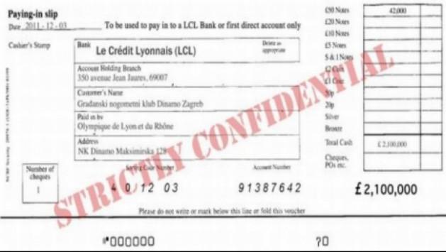 Ύποπτη επιταγή 2,5 εκ. ευρώ από τράπεζα της  Λιόν για την Ντιναμό Ζάγκρεμπ!....