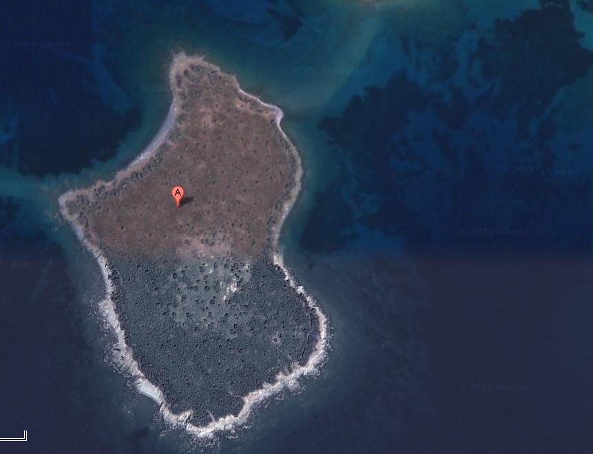Το επίμαχο νησάκι όπως φαίνεται από δορυφόρο