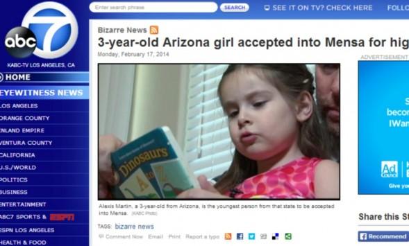 Αυτό είναι το κορίτσι θαύμα! Μόλις 3 χρονών με IQ 160