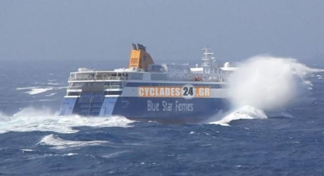 Μάχη με τα κύματα για το Blue Star Ιθάκη (VIDEO)