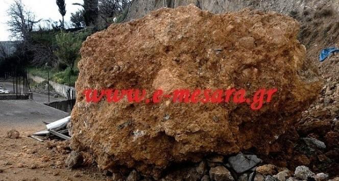 Κρήτη: Βράχος 15 τόνων έπεσε σε ταράτσα σπιτιού - Δείτε τις εικόνες που κάνουν το γύρο του διαδικτύου!