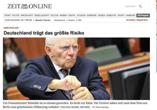 Zeit: Η πορεία του Σόιμπλε είναι πλέον μοναχική! - Θα στραφεί η τρόικα εναντίον του; - Κυβερνητική πηγή: Πάμε για να κλείσουμε! Δεν είμαστε μόνοι μας!