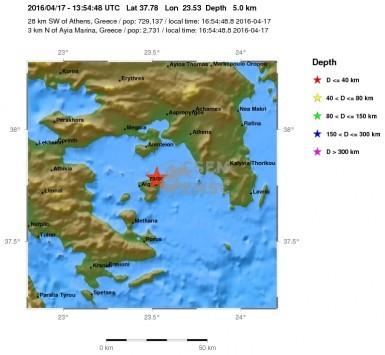 Σεισμός 4,2 Ρίχτερ μεταξύ Αίγινας και Σαλαμίνας - Έγινε αισθητός στην Αττική