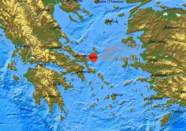 Ο χάρτης του σεισμού από το Ευρωμεσογειακό Σεισμολογικό Κέντρο