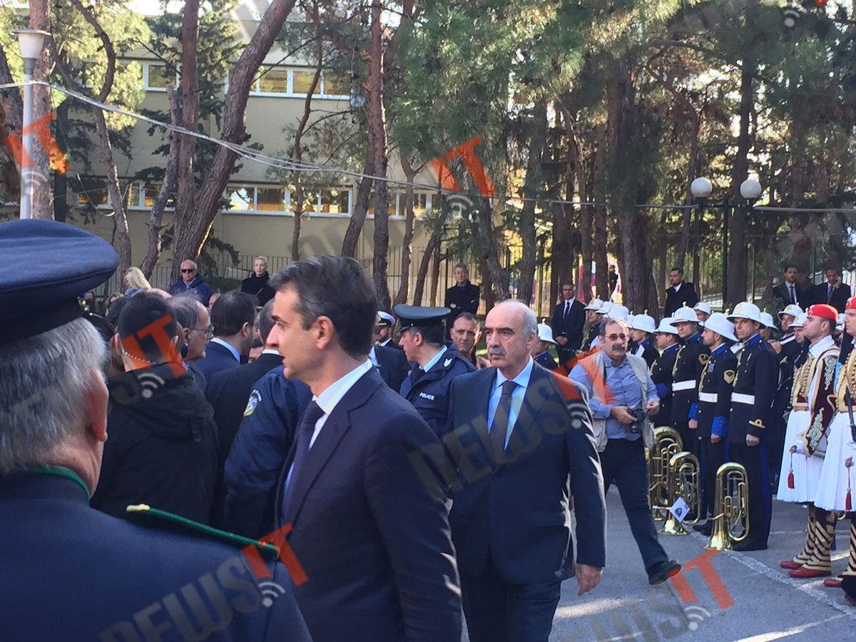 Ο πρόεδρος της ΝΔ Κυριάκος Μητσοτάκης και ο πρώην πρόεδρος της Βουλής Βαγγέλης Μεϊμαράκης