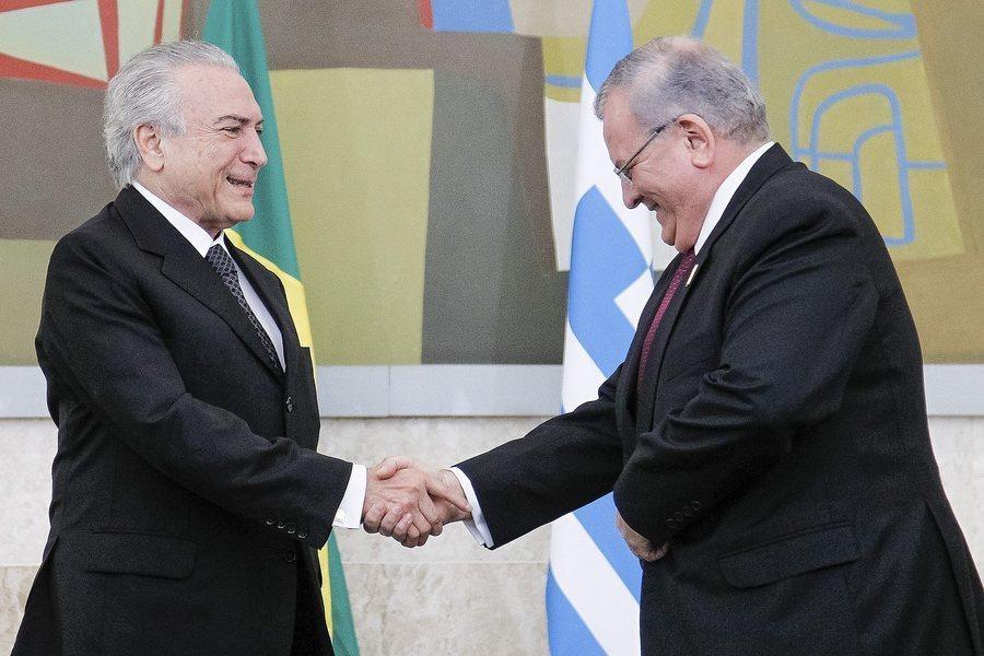 Ο Κυριάκος Αμοιρίδης με τον πρόεδρο της Βραζιλίας Μισέλ Τεμέρ (Φωτογραφία ΑΠΕ - ΜΠΕ)