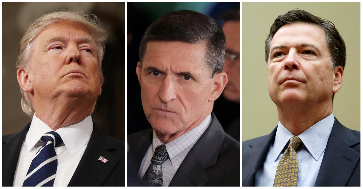 Οι τρεις πρωταγωνιστές: Ντόναλντ Τραμπ, Μάικλ Φλιν (στη μέση) και Τζέιμς Κόμεϊ - Φωτογραφία: Reuters