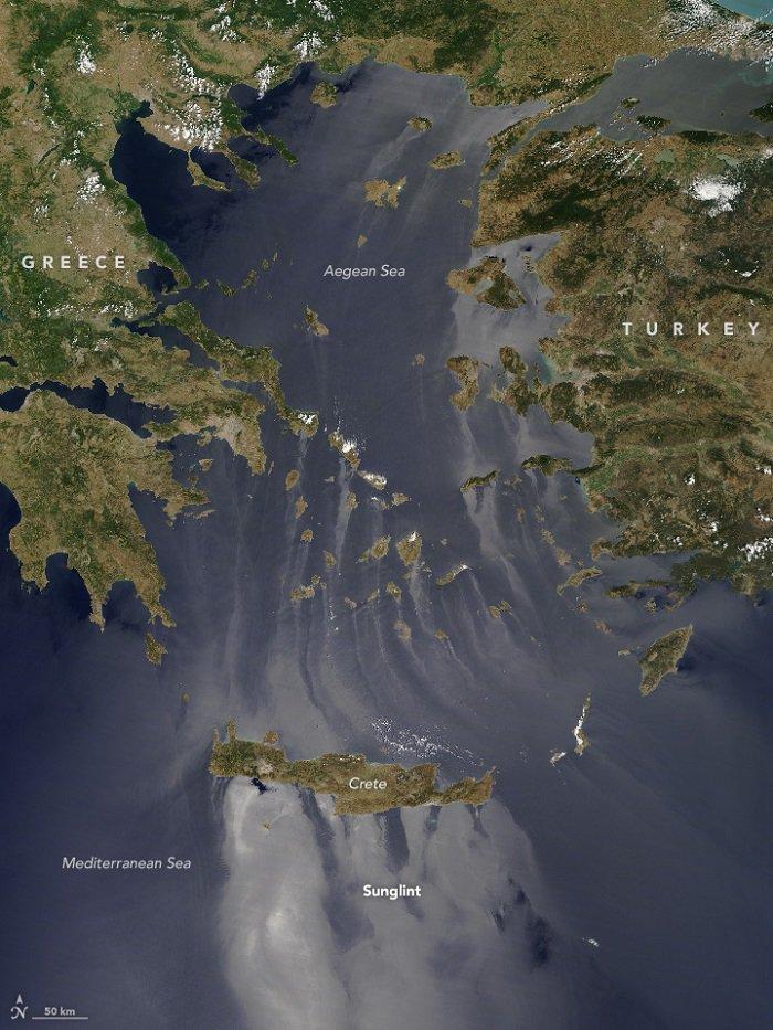 Μοναδικές εικόνες στο Αιγαίο! Η NASA κατέγραψε το φαινόμενο Sunglint!