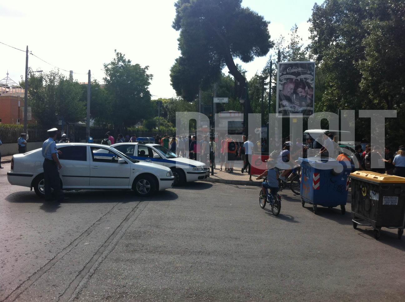 """Το """"μπλόκο"""" των αστυνομικών στο ύψος της οδού Ρόδου"""