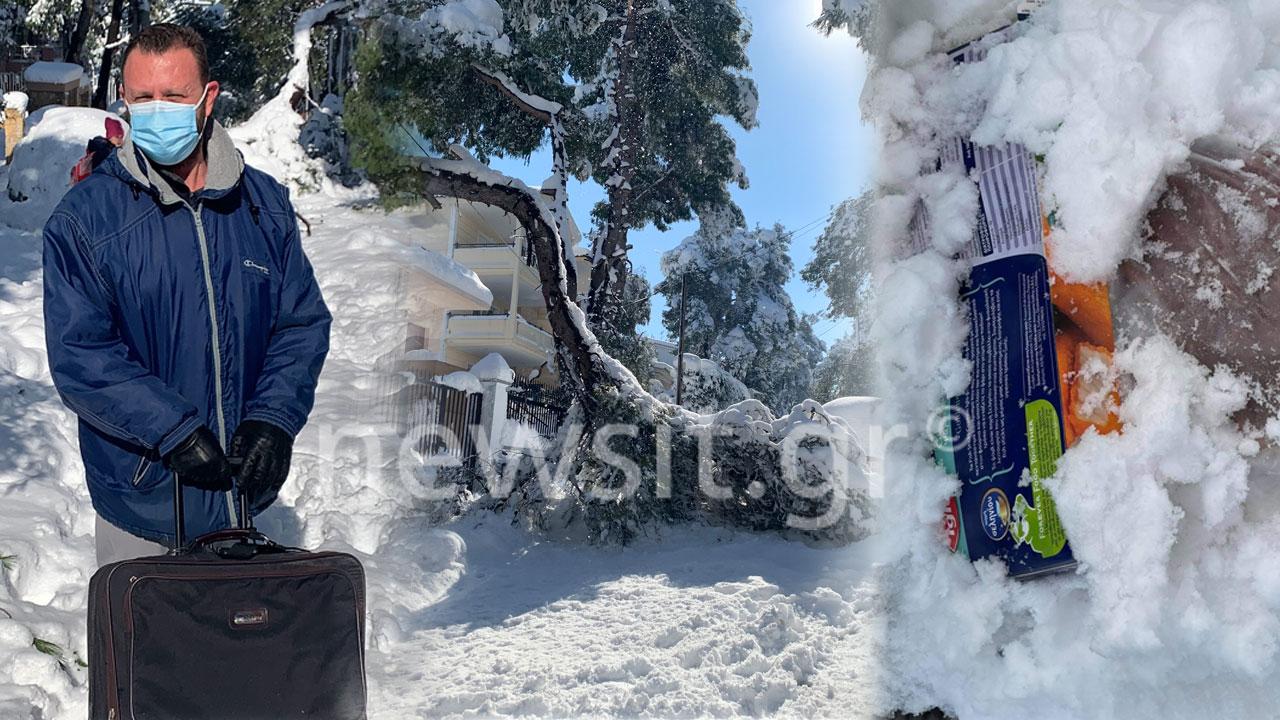 Η Δροσιά βγήκε από την πρίζα – Βγάζουν τρόφιμα στο χιόνι για να μην χαλάσουν ή φεύγουν από τα σπίτια τους