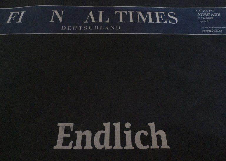 Τέλος εποχής για τους FT Γερμανίας με μαύρο πρωτοσέλιδο | Newsit.gr