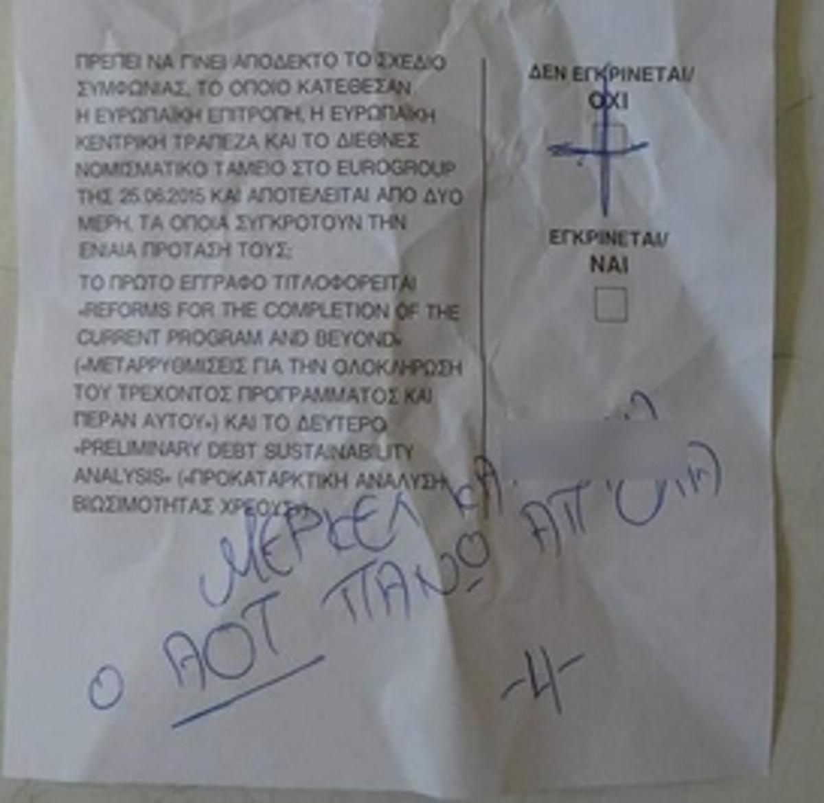 Δημοψήφισμα: Το μήνυμα στην Άνγκελα Μέρκελ πάνω σε άκυρο ψηφοδέλτιο – Δείτε τη φωτογραφία που τραβήχτηκε λίγο μετά το άνοιγμα της κάλπης!