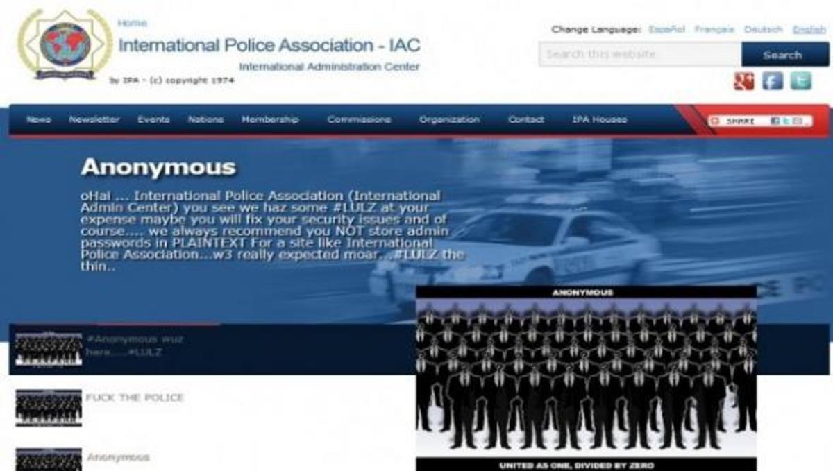 Επίθεση των Anonymous στην ιστοσελίδα της Διεθνούς Ένωσης Αστυνομικών! | Newsit.gr