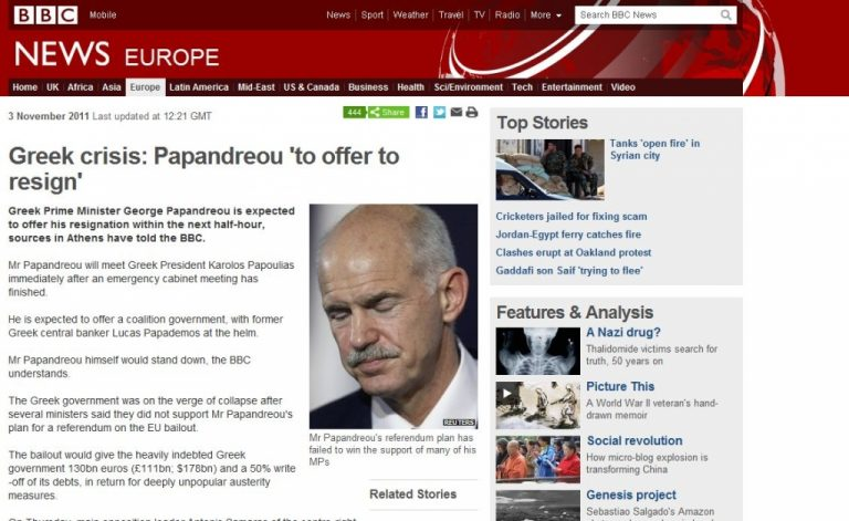 BBC: Ο Παπανδρέου θα παραιτηθεί μέσα στην επόμενη ώρα | Newsit.gr
