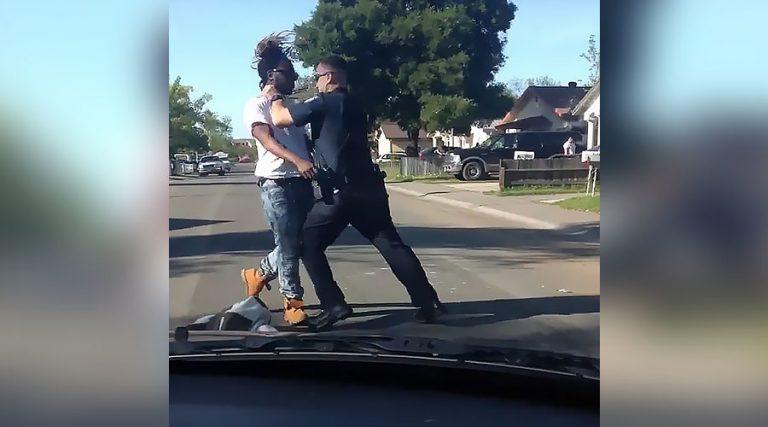 Τον σάπισε στο ξύλο γιατί πέρασε το δρόμο απρόσεκτα! [vid]