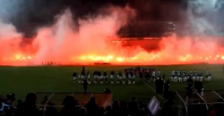 """Η εξέδρα πήρε """"φωτιά"""" – Δείτε VIDEO   Newsit.gr"""
