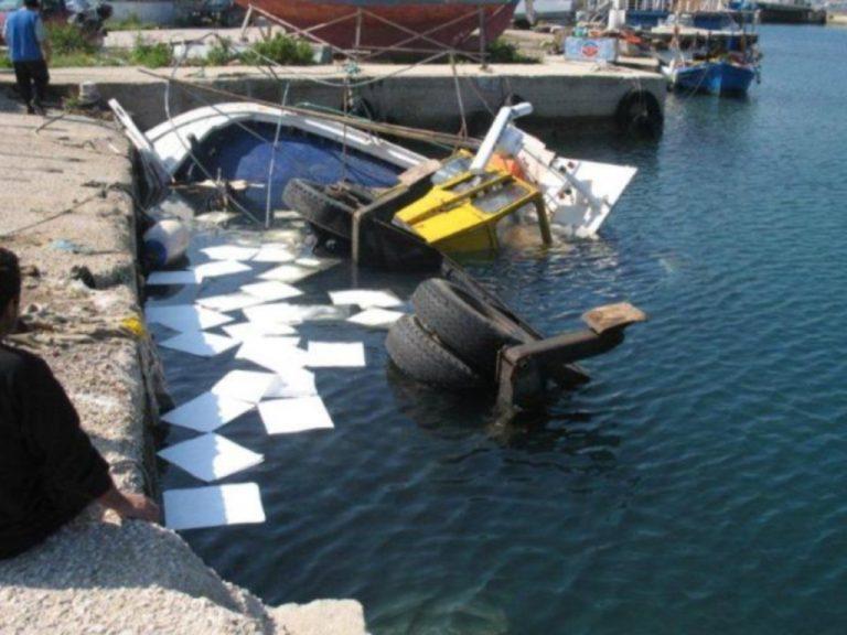 Λευκάδα: Γερανός συγκρούστηκε με σκάφος και το βύθισε! | Newsit.gr