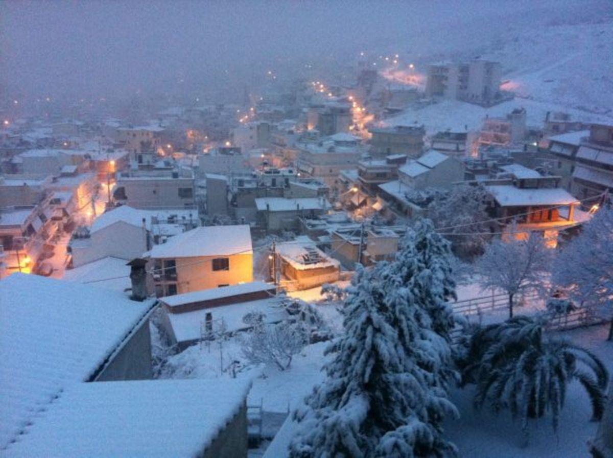 Λαμία: Χιονισμένες γειτονιές και πλατείες – Δείτε εικόνες! | Newsit.gr