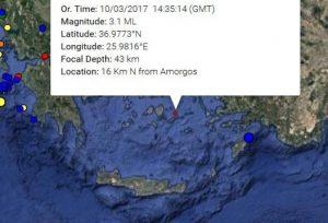 Σεισμός κοντά στην Αμοργό