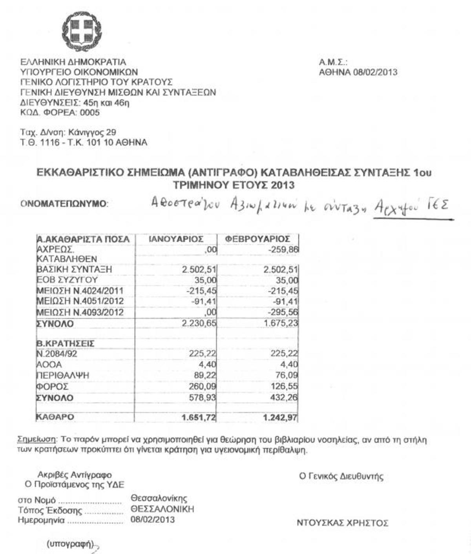 Αρχηγός ΓΕΣ …1200 ευρώ. Δείτε τα εκκαθαριστικά! | Newsit.gr