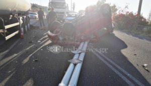 Τρομερό τροχαίο στα Χανιά – ΙΧ συγκρούστηκε με βυτιοφόρο [pics]