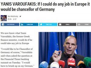 Τώρα ο Βαρουφάκης θέλει να γίνει καγκελάριος της Γερμανίας