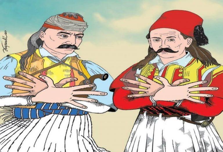 Προκλητικό σκίτσο! Κολοκοτρώνης και Μπότσαρης σχηματίζουν τον αλβανικό αετό! [pic]   Newsit.gr