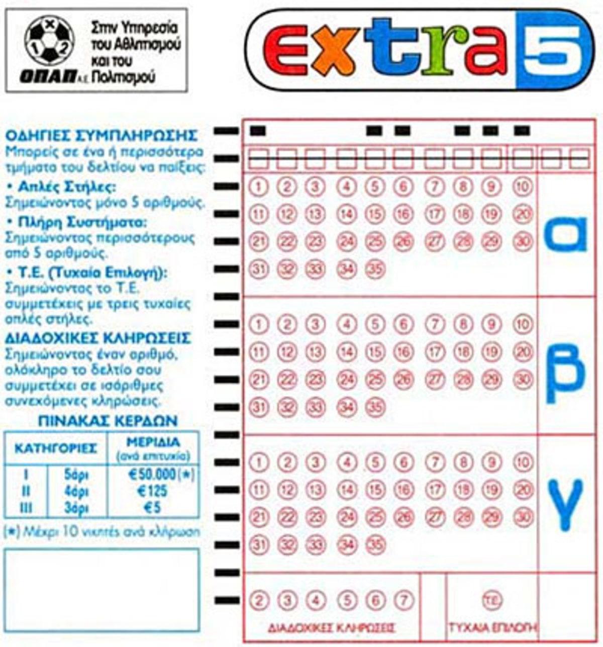 Η κλήρωση του Extra 5 στις 19:00   Newsit.gr