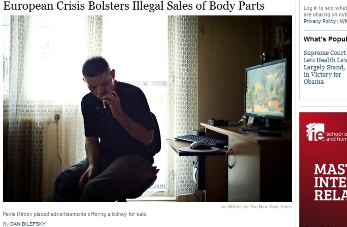 New York Times: Έλληνες πωλούν τα όργανά τους λόγω κρίσης | Newsit.gr