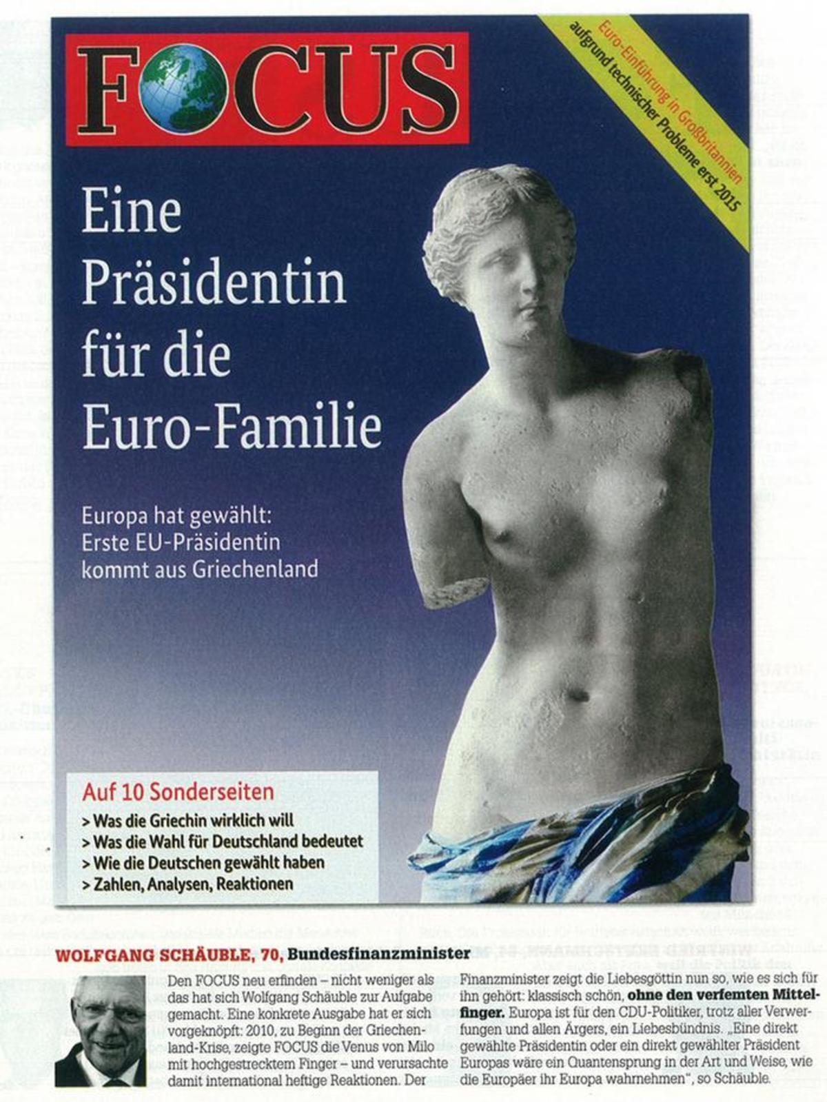 Την Αφροδίτη θα επέλεγε και ο Σόιμπλε για εξώφυλλο στο Focus   Newsit.gr