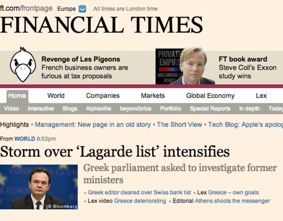 Πρώτο θέμα στους Financial Times η θύελλα που έχει ξεσπάσει με την αποστολή στην Βουλή της δικογραφίας για την λίστα Λαγκάρντ | Newsit.gr