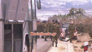 Κόρινθος: Φωτιά σε λεωφορείο που μετέφερε 45 στρατιωτικούς [pics, vid]