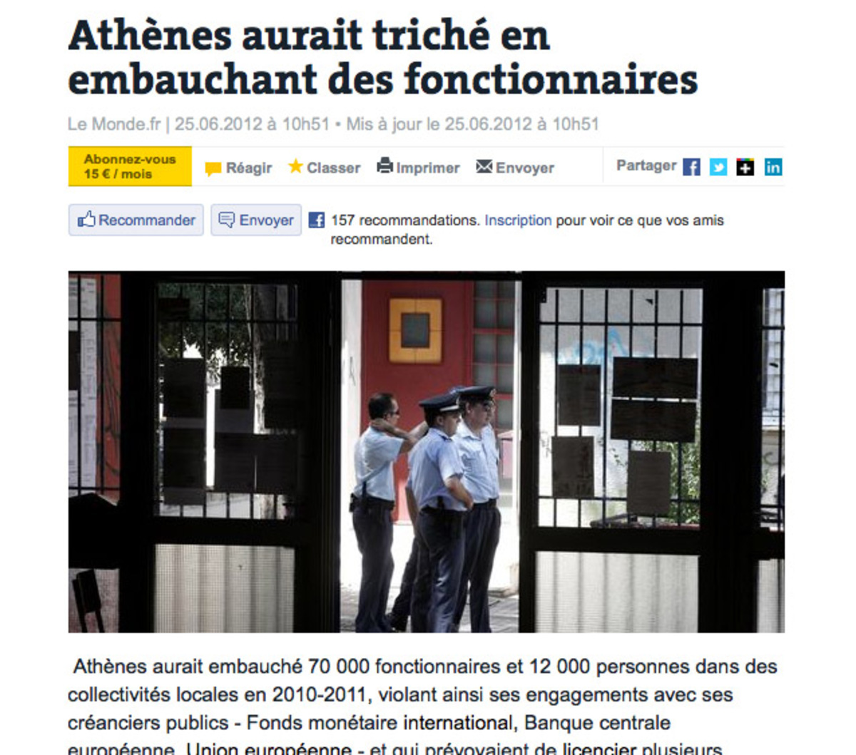 Le Monde: «Η Αθήνα έκλεψε και έκανε προσλήψεις» | Newsit.gr