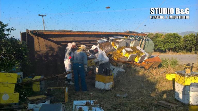 Ανατροπή φορτηγού με μελίσσια στην Αργολίδα – Απελευθερώθηκαν χιλιάδες μέλισσες! [pics]   Newsit.gr