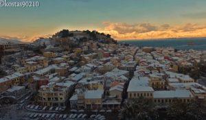 Το χιονισμένο Ναύπλιο από ψηλά – Μαγικές εικόνες [vid]