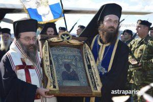 Χίος: Η εικόνα της Παναγίας Σουμελά έφτασε στο νησί – Υποδοχή με τιμές αρχηγού κράτους [pics, vid]