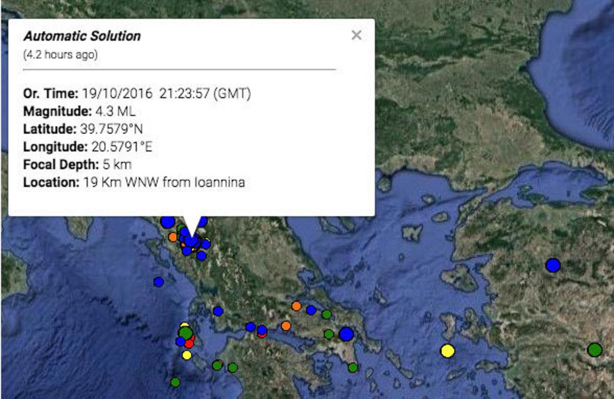 Σεισμός στα Γιάννενα: Ισχυρός μετασεισμός τα ξημερώματα