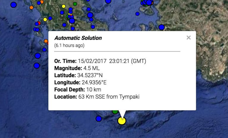 Σεισμός 4,5 Ρίχτερ στην Κρήτη | Newsit.gr