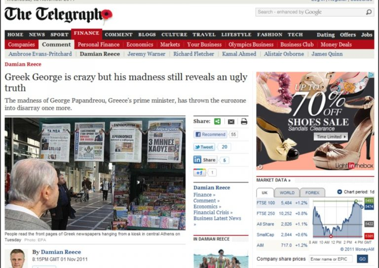 Telegraph: «Μα είναι τρελός ο Παπανδρέου;» | Newsit.gr