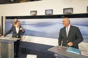 Debate πολιτικών αρχηγών: Το… ατύχημα του Τσίπρα και ο χαβαλές με Μεϊμαράκη (ΦΩΤΟ)
