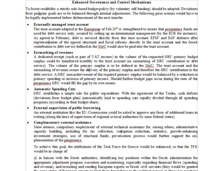 Αυτό είναι το non paper με τις 6 απαιτήσεις των Γερμανών   Newsit.gr