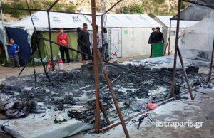 Χίος: Αναταραχή στη Σούδα – Μετανάστες πυρπόλησαν σκηνή [pics]
