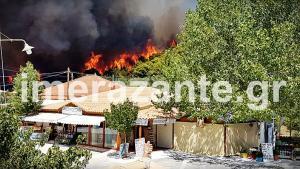 Στο έλεος της φωτιάς η Ζάκυνθος – Καίγονται δάση με πεύκα και υπεραιωνόβιους ελαιώνες