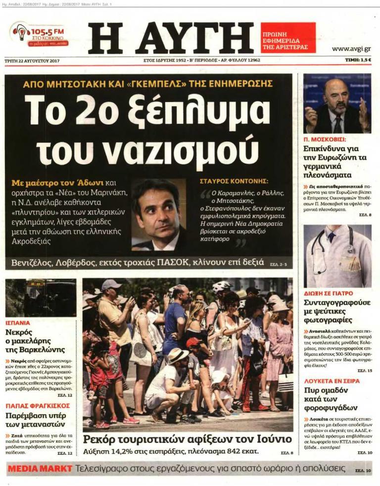Πόλεμος ΣΥΡΙΖΑ – ΝΔ για το πρωτοσέλιδο της «Αυγής»