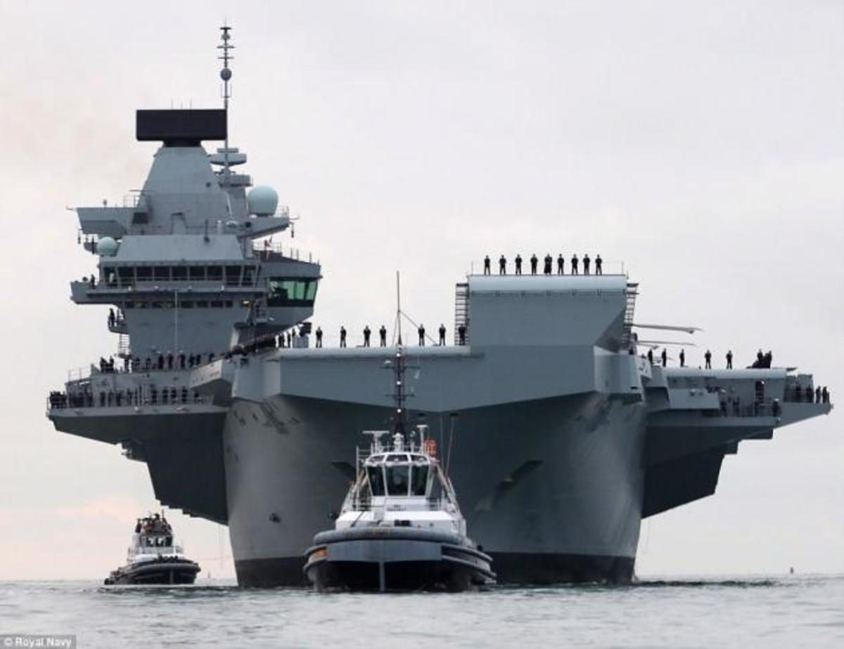 HMS Queen Elizabeth: Το ισχυρό αεροπλανοφόρο της Βρετανίας δένει στο Πόρτσμουθ [pics,vid] | Newsit.gr