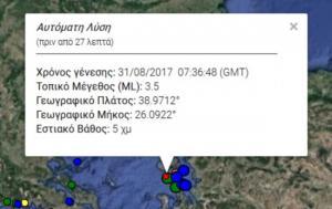 Σεισμός στη Μυτιλήνη: 3,5 Ρίχτερ χτύπησαν το νησί – Στα 5 χιλιόμετρα το εστιακό βάθος!