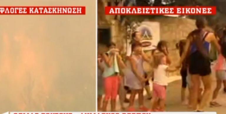 Φωτιά στον Κάλαμο: Έντρομα παιδιά εγκαταλείπουν άρον – άρον την κατασκήνωση [vid]