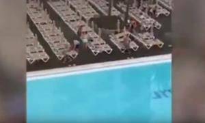 Εκστασιασμένοι τουρίστες «μάχονται» για μια ξαπλώστρα στην πισίνα [vid]